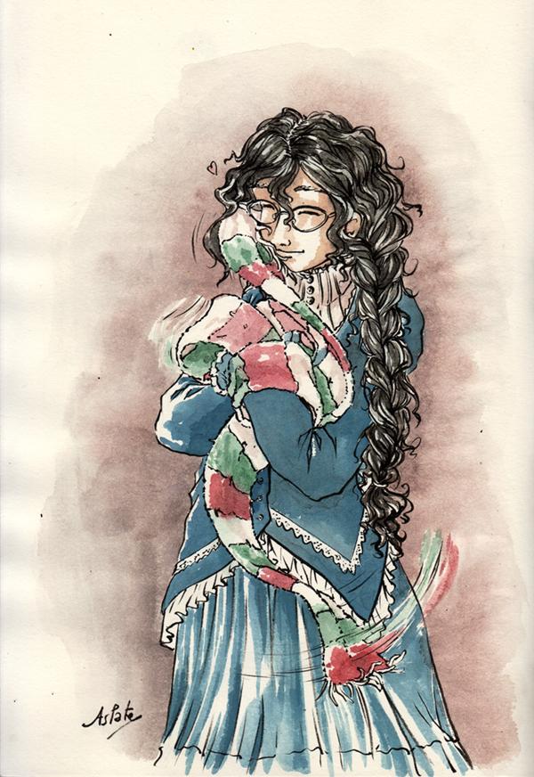Ophélie et son écharpe tricolore - fanart de La Passe-miroir