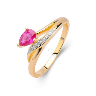18K GOLD PLATED STERLING SILVER PINK GEMSTONE PROMISE RING