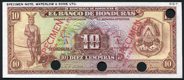 Honduras banknotes currency notes 10 Honduran Lempiras banknote