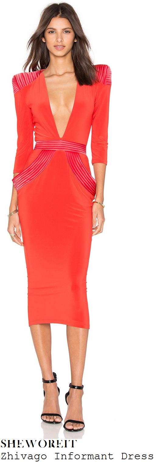 rosie-fortescue-zhivago-informant-bright-red-plunge-front-structured-midi-dress