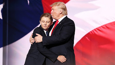Donald Trump with his son, Barron Trump.