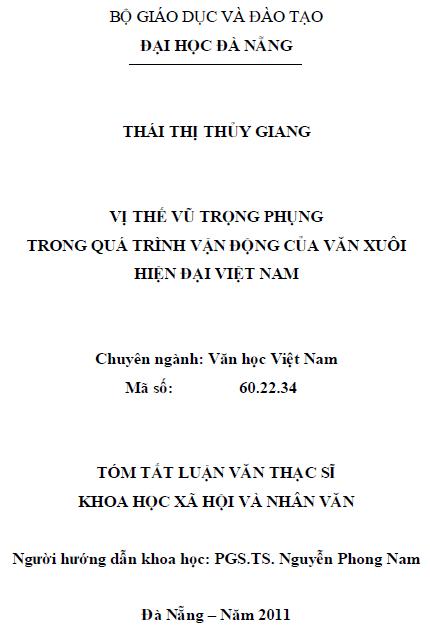Vị thế Vũ Trọng Phụng trong quá trình vận động của văn xuôi hiện đại Việt Nam