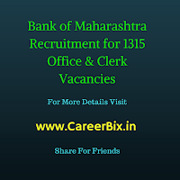 Bank of Maharashtra (BOM) Recruitment for 1315 Officer's and Clerk Vacancies