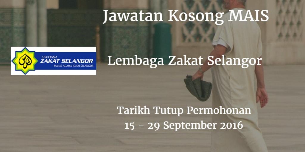 Jawatan Kosong MAIS 15 - 29 September 2016