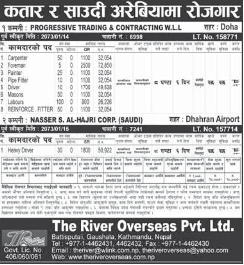 Jobs For Nepali In Saudi Arabia,  Salary -Rs.72,850/