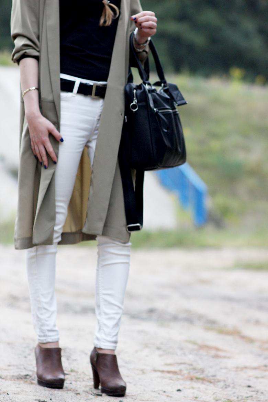 H&M khaki jacket Lee white jeans Wojas boots Zara (men's section) bag fashion outfit blogger blog