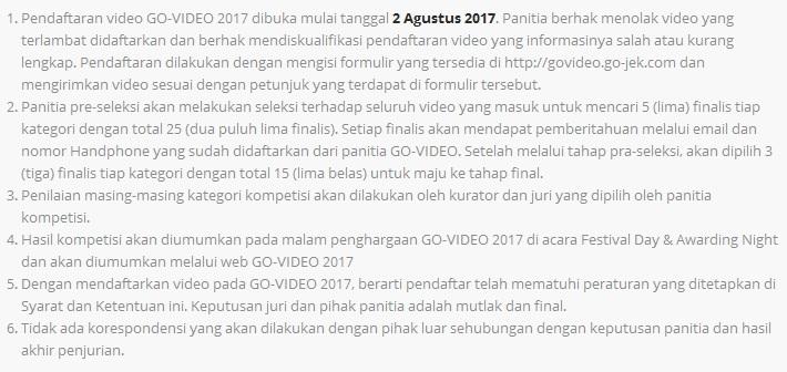 govideo gojek 2017, lomba govideo gojek 2017, cara daftar lomba video gojek 2017,  syarat lomba video gojek 2017