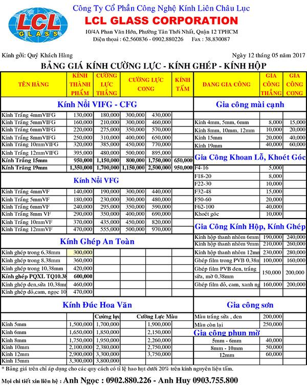 Bảng Báo Giá Kính Trắng - Gia công LCl Glass