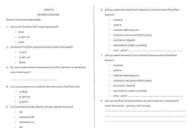 ankieta zadania domowe