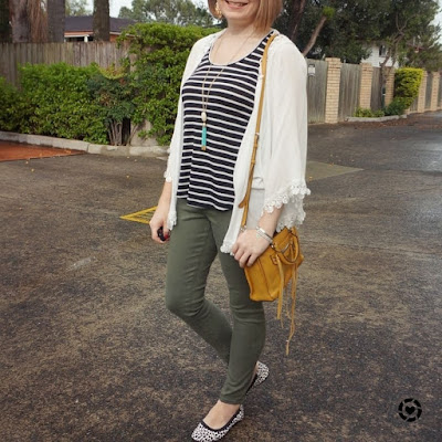awayfromblue Instagram | print mixing outfit striped tank olive jeans leopard flats kimono and mustard yellow micro regan bag