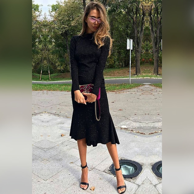 Μεσάτο μίντι μαύρο φόρεμα NATASHA