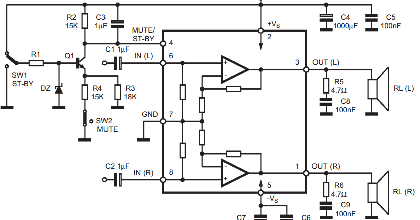 Wiring & diagram Info: 25 25W STEREO AMPLIFIER WITH MUTE ST BY