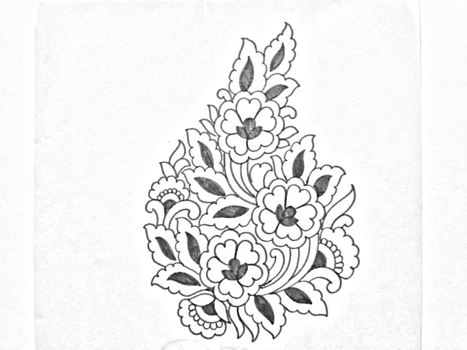 Hand embroidery design -06 | How to draw an easy butta khaka design for hand embroidery