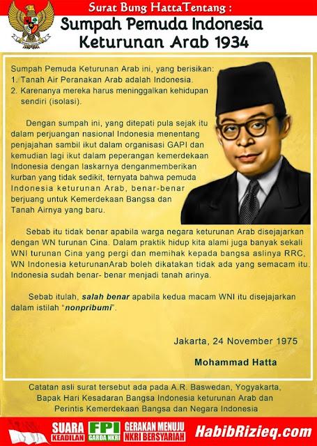Sumpah Pemuda Indonesia Keturunan Arab dan Bedanya dengan Keturunan Cina