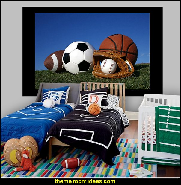 all sports bedding all sports wall mural - Sports Bedroom Decorating Ideas