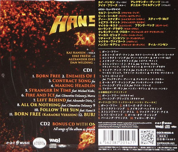 KAI HANSEN - XXX Three Decades In Metal [Japan LTD Ed. bonus disc Only Kai on Vocals) (2016) back