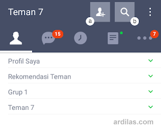 Penambahan teman, pencarian official accounts - Kumpulan Daftar Nama Atau ID Line Artis Indonesia Korea