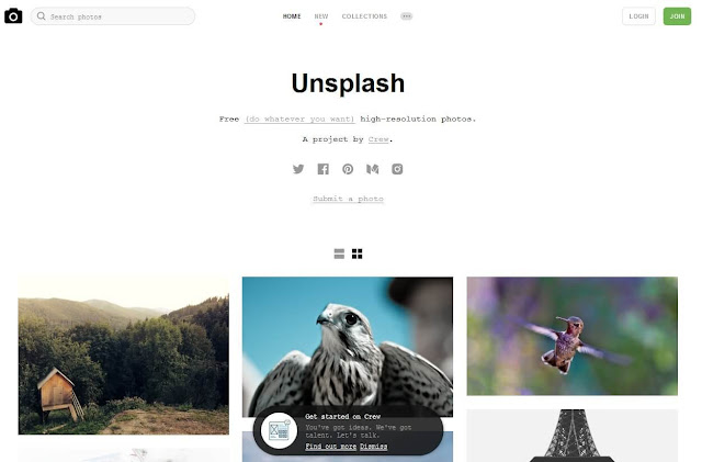 Unsplash  for blog posts and bloggers