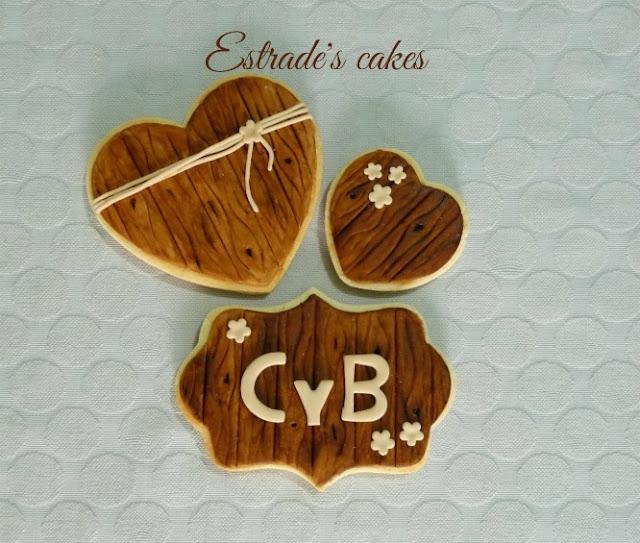 Galletas de boda simulando madera 1