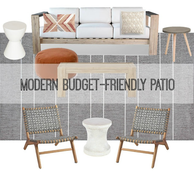 Modern budget-friendly patio mood board