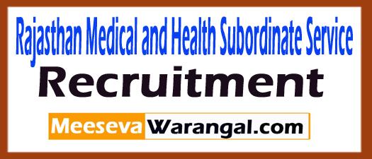 Rajasthan Medical and Health Subordinate Service RMHSS Recruitment
