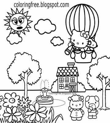 Good friends cat sweet pig pretty bunny rabbit hot air balloon Hello Kitty coloring pages for girls