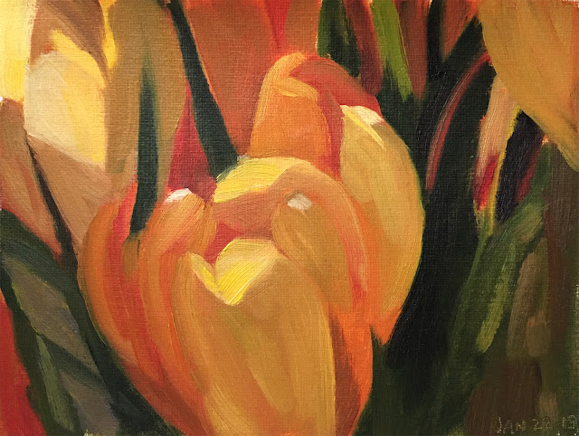 composing values study of yellow tulips Jan-22-2019