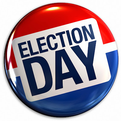 Red, white and Blue Button that reads Election Day