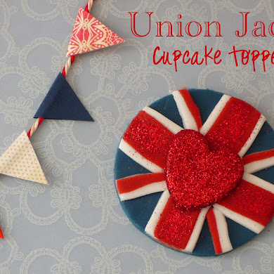 DIY Union Jack Fondant Cupcake Toppers