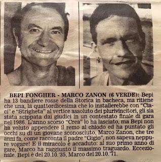 Marco Zanon et Bepi Fongher, vainqueurs de la régate historique
