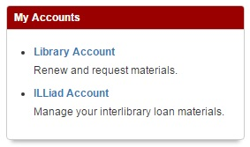 accounts option on library homepage