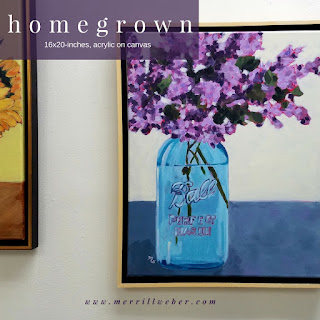 Homegrown floral painting by Pennsylvania artist Merrill Weber acrylic on canvas framed