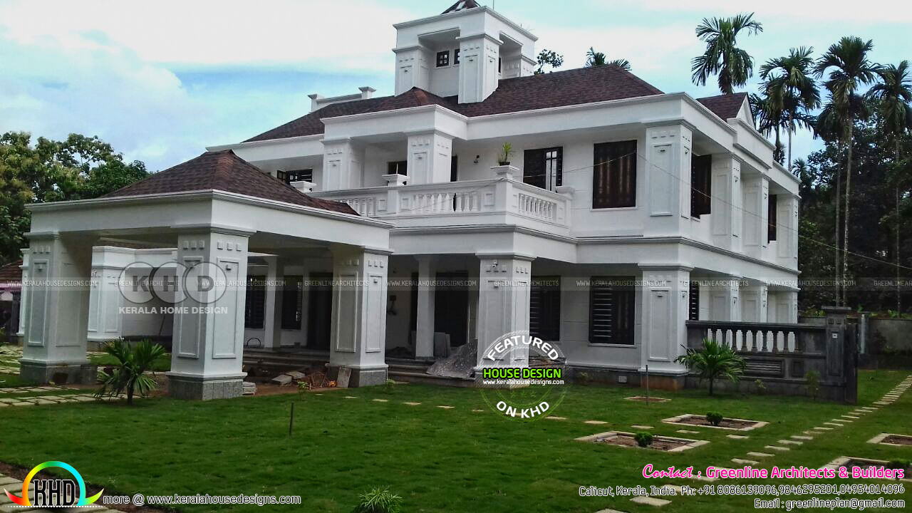 Finished colonial house in kerala kerala home design and for Colonial style house plans kerala