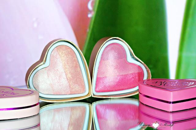 Makeup Revolution, serduszkowe róże do policzków I Heart - Iced Hearts oraz Blushing Heart | Odcienie