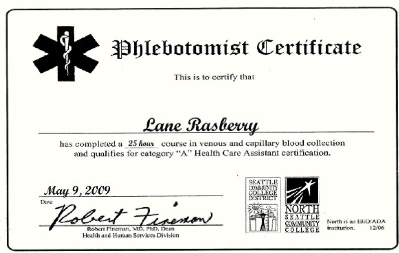 Free Resume 2018 Phlebotomy Certification Illinois Free Resume