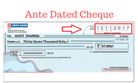 ANTI DATED CHEQUE