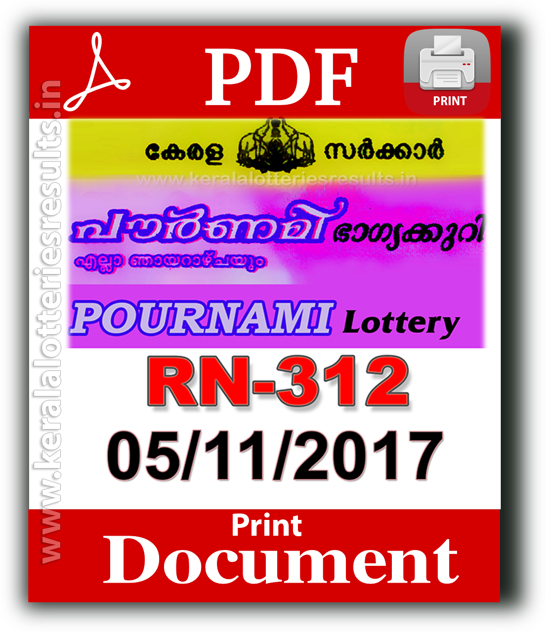 05.11.2017: Pournami RN 312 Lottery Results Official PDF