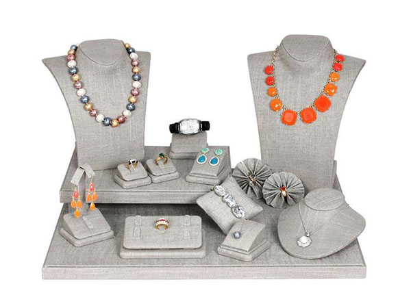 Buy the Gray Linen Jewelry Display 19 Piece Set at Nile Corp