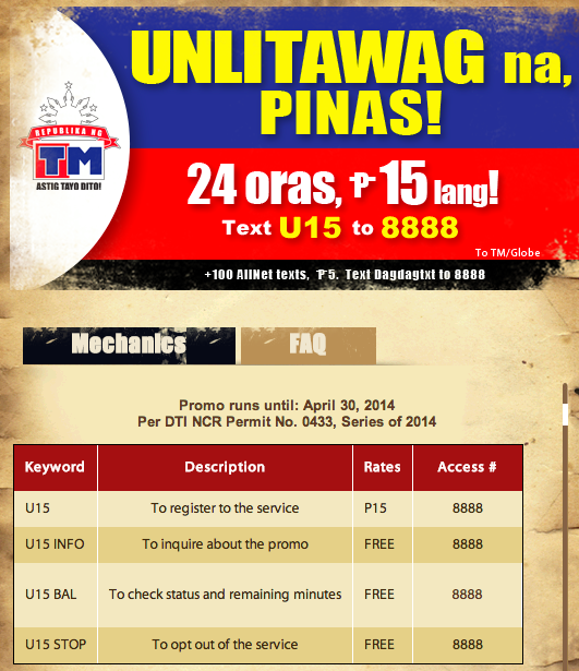 2609602cc TM Unlimited Call Promo Text U15 to 8888 for UNLITAWAG15 Valid for 24 hrs