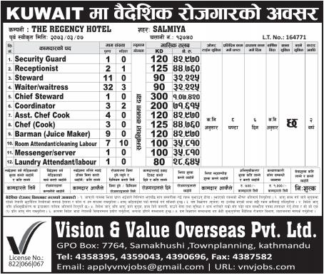 Jobs For Nepali In Kuwait, Salary -Rs.1,07,420/