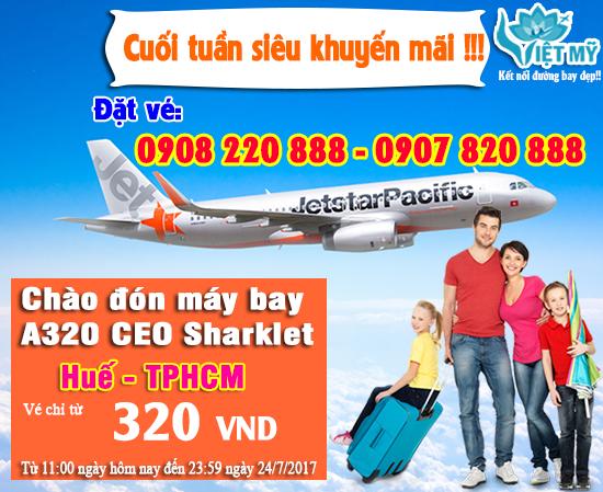 Jetstar khuyến mãi vé máy bay Huế - TPHCM giá chỉ 320 VND