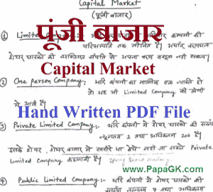 Indian Capital Market PDF Notes in Hindi