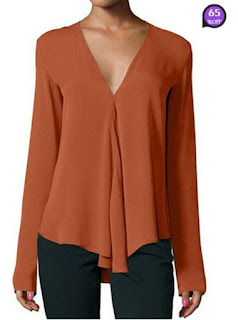 V Neck Asymmetric Hem Plain Blouses (Price:$ 12.73)