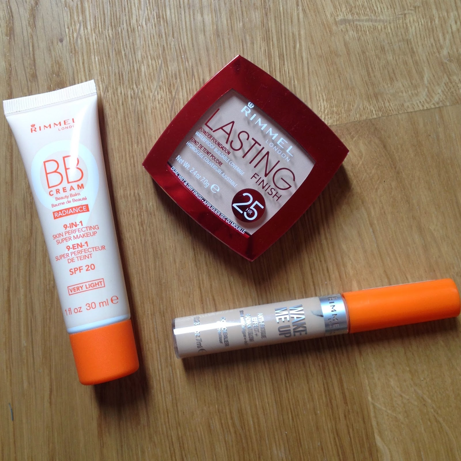 Rimmel Radiance BB Cream Rimmel Wake Me Up Concealer Rimmel Lasting Finish Powder