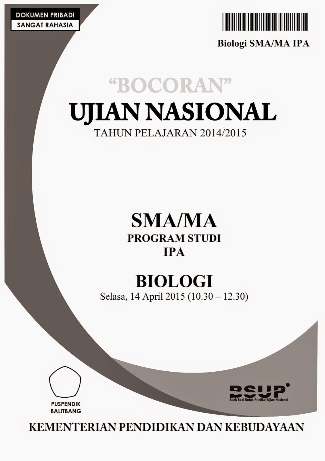 Bocoran Soal Un Biologi 2016