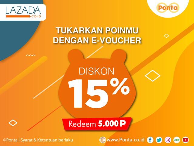 #Ponta - #Promo Redem 5000 Poin Dapat Diskon 15% di Lazada (s.d 31 Maret 2019)