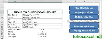 quản lý kho nhập xuất tồn trên Excel