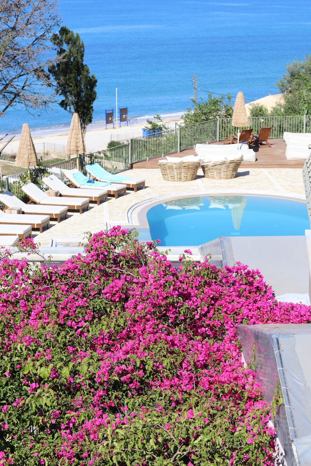 Outdoor pool with flowers, F Zeen Resort, Unique Villas, Kefalonia