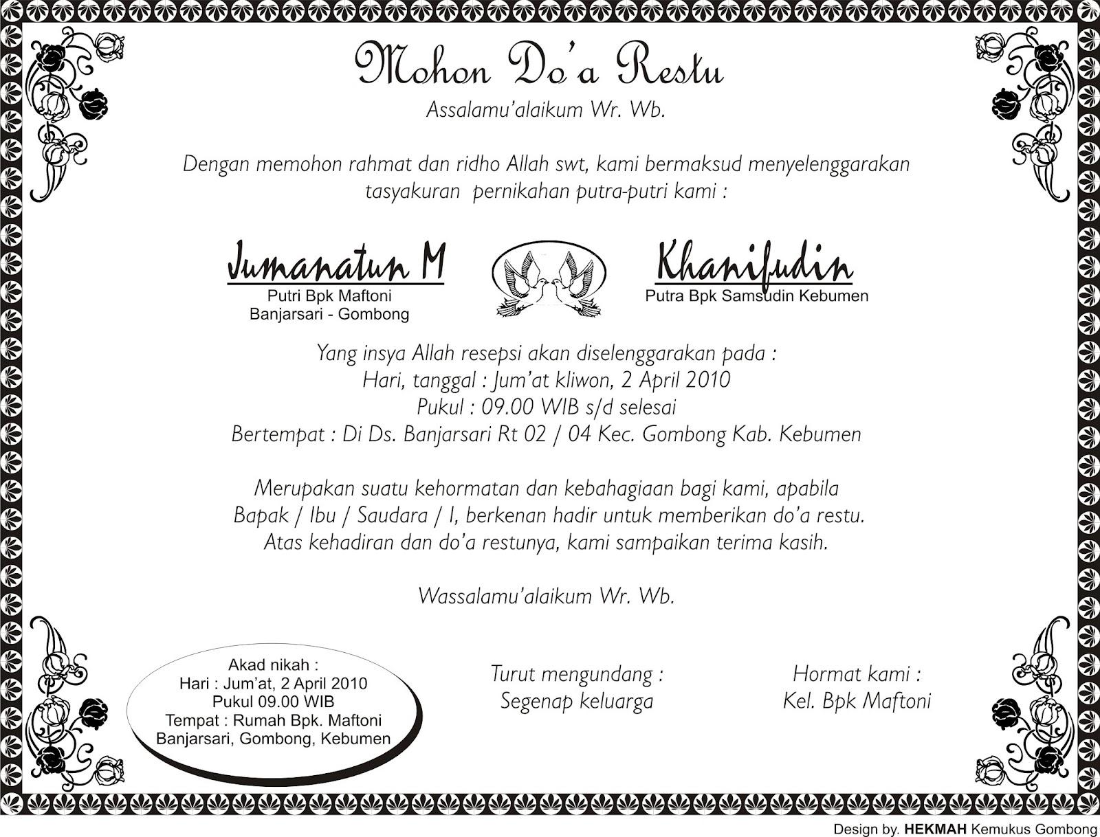 Contoh Ucapan Tasyakuran Pernikahan 2017 Download Gratis