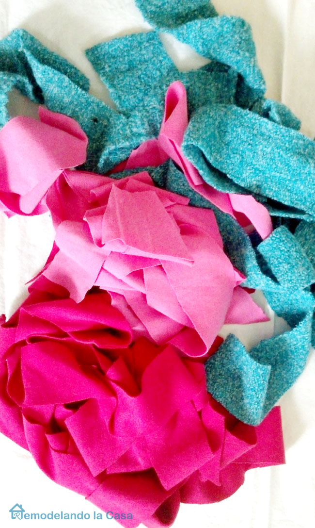 strips of pink, magenta and blue fabric
